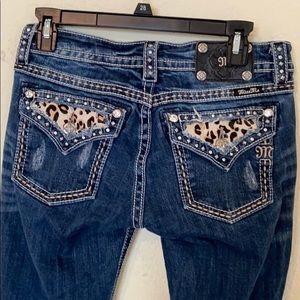Cheetah print pockets Miss me signature boot jeans